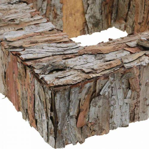 Déco arbre écorce carré ouvert écorce de pin décoration automne 30×30cm