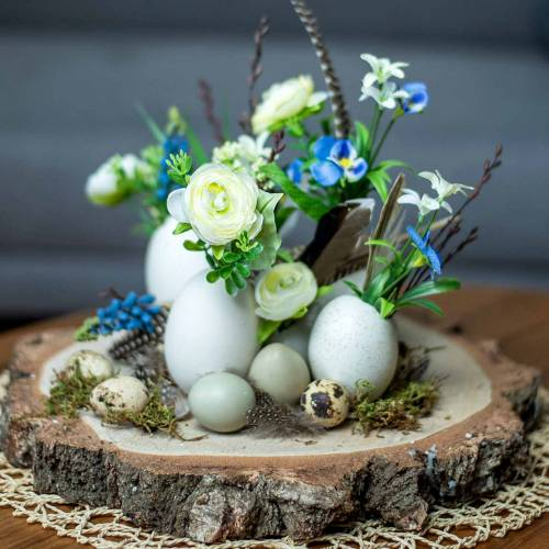 Bouquet de renoncules aux jacinthes de raisin blanc 25cm