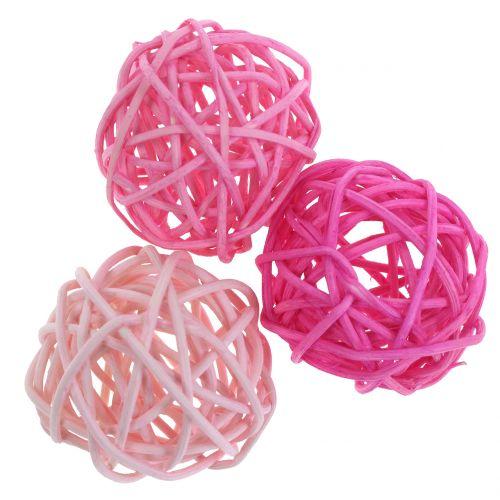 Balles de rotin tricolores 8 cm 8 p.
