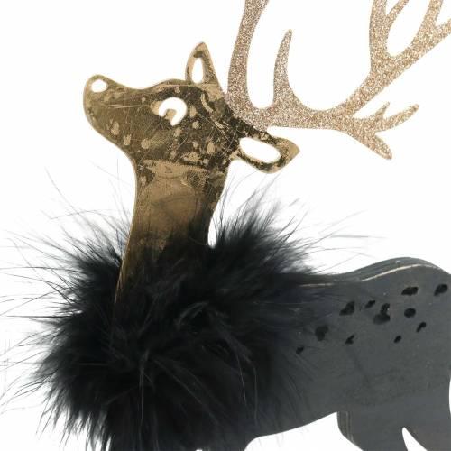 Décoration pour le renne de table de Noël avec boa de plumes et paillettes noir, doré 22,5 × 13cm 2pcs
