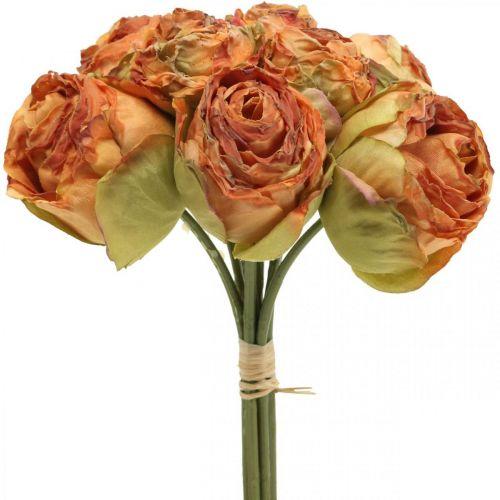 Bouquet de roses, fleurs en soie, roses artificielles orange, aspect antique L23cm 8pcs