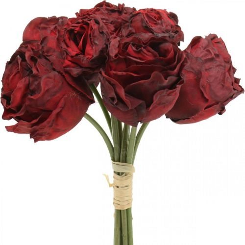 Roses artificielles rouges, fleurs en soie, bouquet de roses L23cm 8pcs