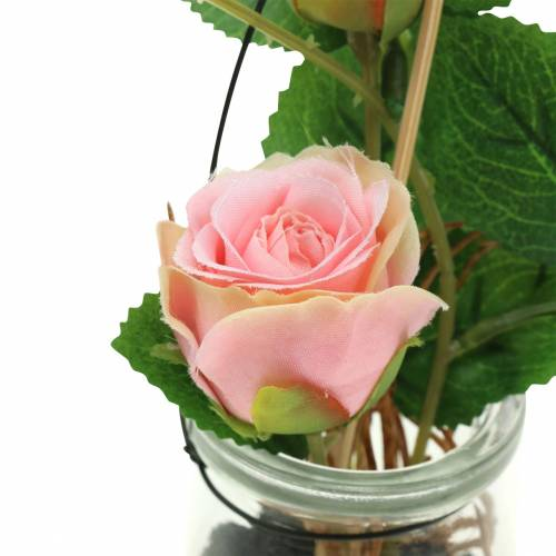 Rose dans le verre rose H23cm