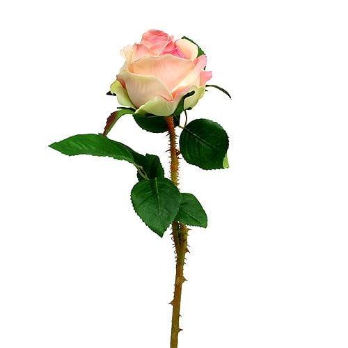 Rose artificielle rose crème Ø9cm L45cm 1p
