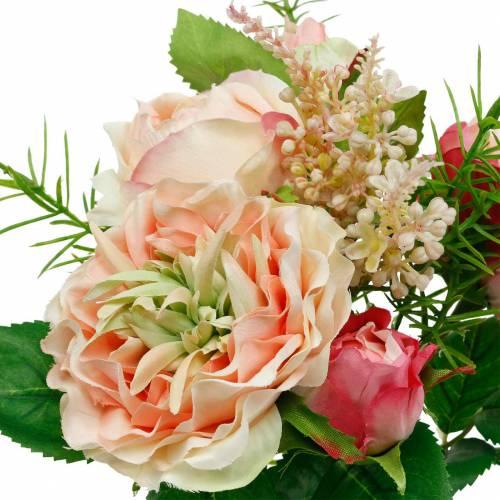 Bouquet de roses artificielles dans un bouquet de fleurs en soie rose bouquet