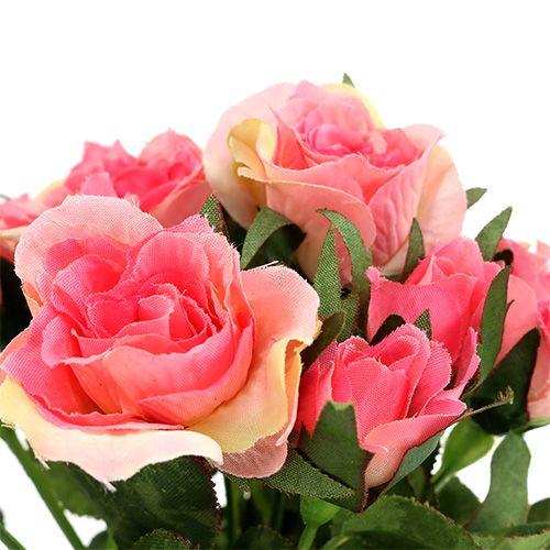 Bouquet de roses couleur fuchsia L 26 cm 3 p.