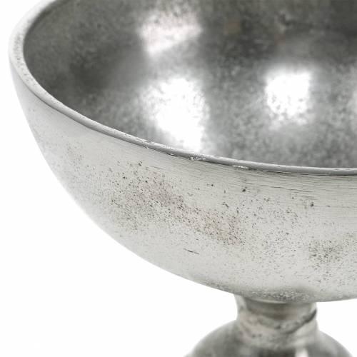 Bol avec pied décoration de table en métal argenté Ø16cm, aspect antique