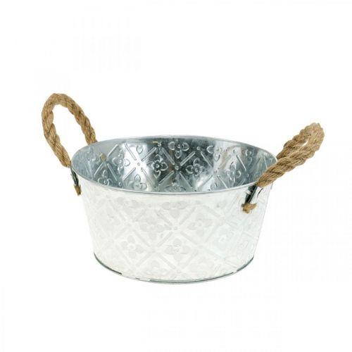 Jardinière, pot en métal avec motif fleuri, pot de fleur avec anses Ø18cm