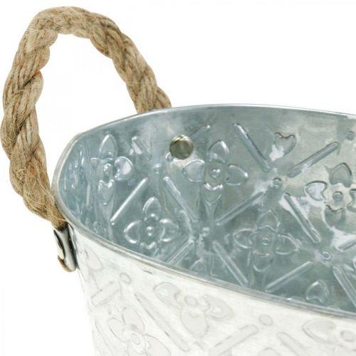 Bol décoratif ovale argenté avec poignées Jardinière en métal 22,5 × 13,5cm