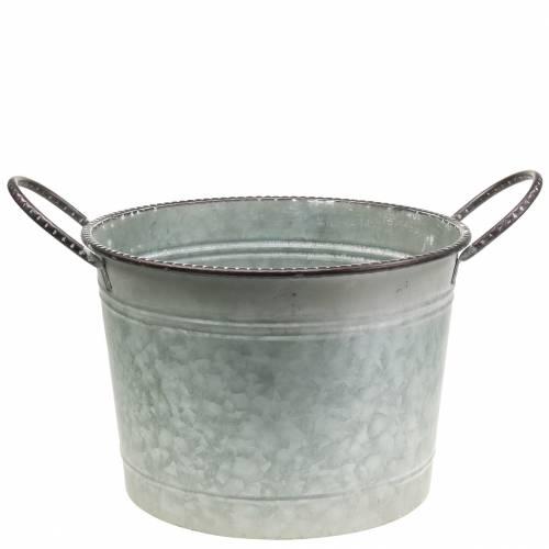 Bol en zinc avec anses gris, marron et blanc délavé Ø31cm H21cm