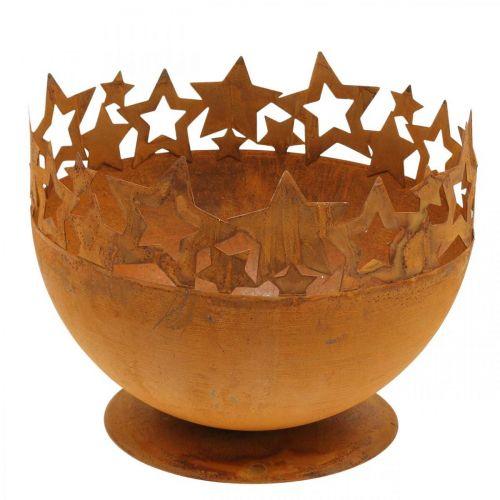 Bol en métal avec étoiles, décorations de Noël, récipient décoratif en acier inoxydable Ø25cm H20.5cm