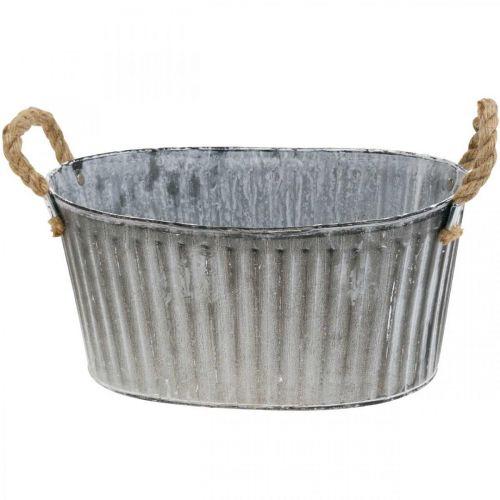 Bol à planter, bol à fleurs avec anses, jardinière en métal L30,5cm