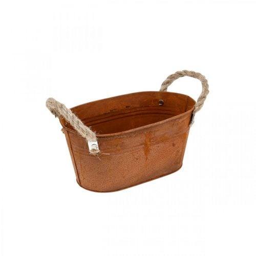 Bol en métal avec anses, décoration automne, cache-pot patiné L22cm H11cm