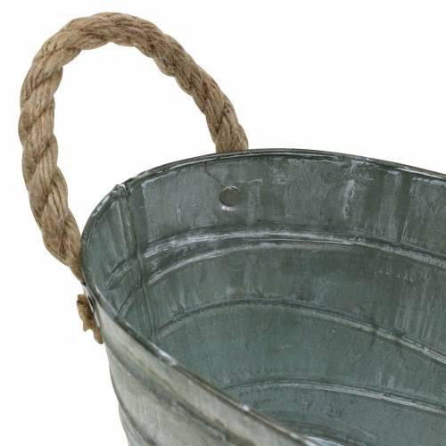Bol en zinc motif enroulement avec anses en corde ovale blanchi blanc 27,5 × 16,5cm H12,5cm