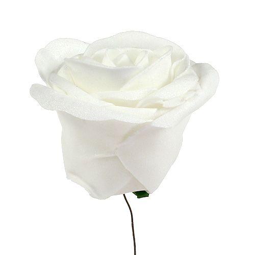 Roses en mousse blanche recouvertes de nacre 6 cm de Ø 24 ex