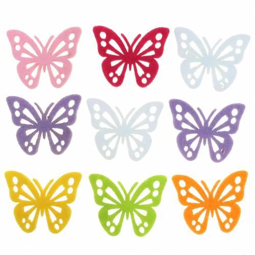 Papillon en feutre Couleurs au choix 3,5x4,5cm 54 pcs