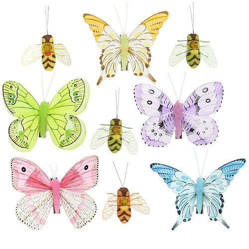 Papillon, décoration abeille sur clip 4cm - 8cm 9pcs