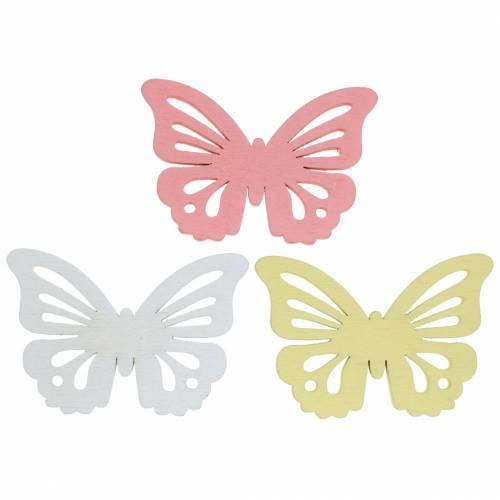 Papillon épars blanc, jaune, rose bois assortis 5cm 40p
