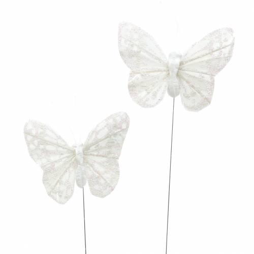 Papillon en plume sur fil métallique Blanc 5 cm 24Pcs