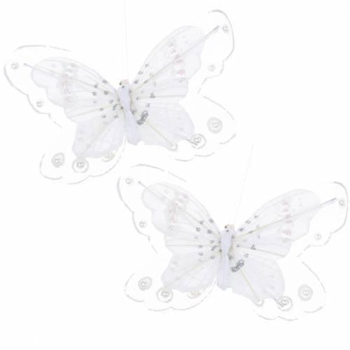 Papillon en plume sur pince Blanc 9/10cm 12 Pcs