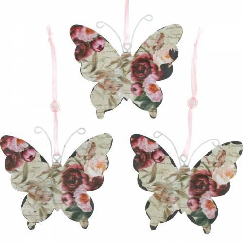 Papillon à accrocher cintre de décoration en métal 9cm décoration de printemps 6pcs