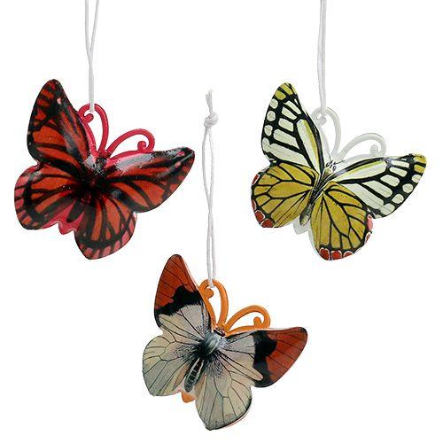 Papillon à suspendre couleurs assorties 5,5 cm 3 p.