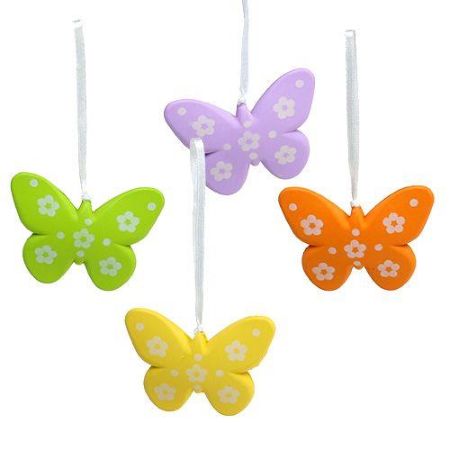 Papillons à suspendre multicolore 6,5cm 5P