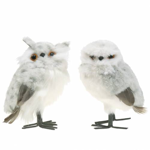Hiboux de Neige Blanc 15cm 2pcs