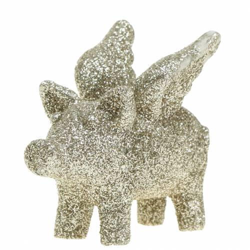 Cochon déco avec ailes Scintillant, doré 6cm