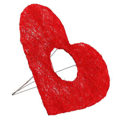 Manchette coeur sisal 25cm rouge 10pcs