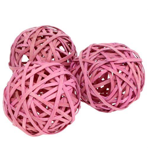 Balle en rotin rose Ø 6 cm 6 p.