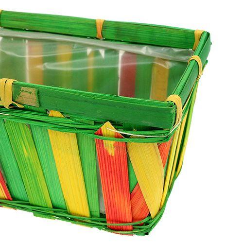 Panier multicolore rectangulaire en sangles tressées, 25 cm 6 p.
