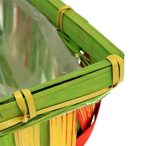 Lot de paniers rectangulaires en sangles tressées, div. couleurs 12 p. 20/11 cm