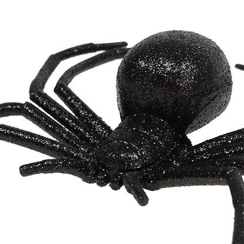 Araignée noire 16 cm avec paillettes