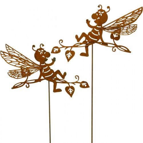 Bouchon de jardin abeille rouille 34,5 × 14 cm décoration de jardin en métal 4 pièces