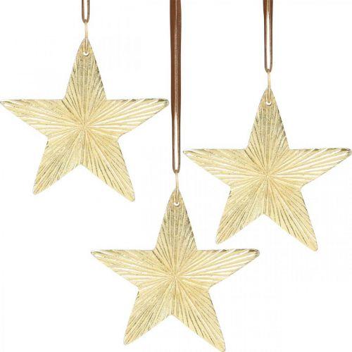 Étoiles à accrocher, décorations en métal, décorations de sapin de Noël dorées 9,5 × 9,5cm 3pcs
