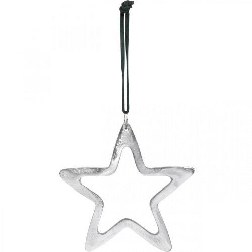 Etoile en métal à accrocher, Décoration de l'Avent, Pendentif Noël argent 14×14cm