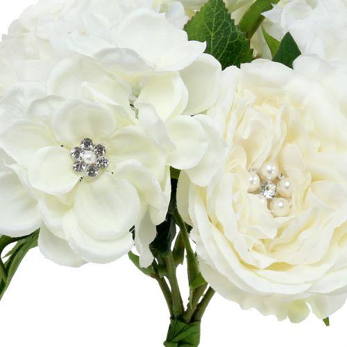 Bouquet décoratif blanc avec perles et strass 29 cm