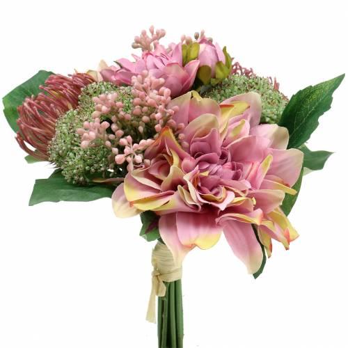 Bouquet de dahlias, Protea 25cm