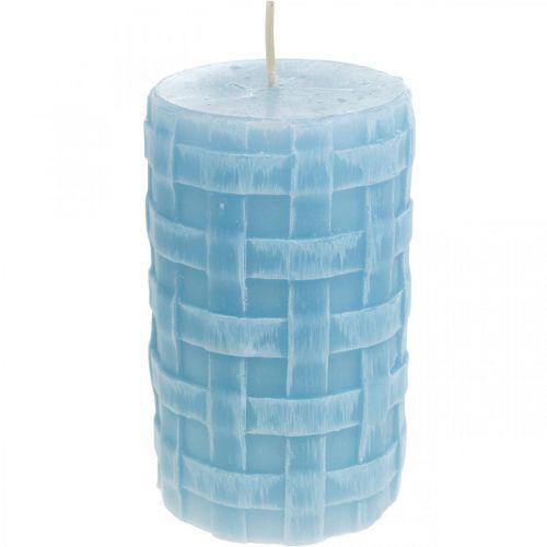 Modèle de panier de bougies en cire, bougies piliers, bougies Rustic bleu clair 110/65 2pcs