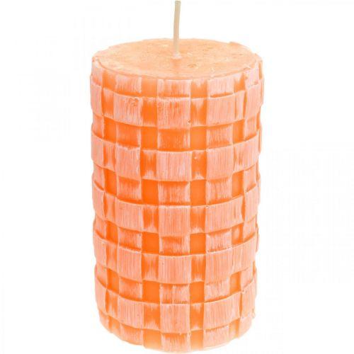 Bougies rustiques, modèle de panier de bougies pilier, bougies en cire orange 110/65 2pcs