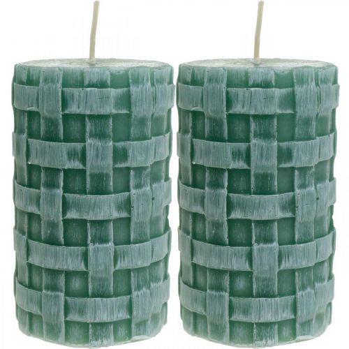Bougies avec motif tressé, bougies pilier Vert rustique, décoration bougie 110/65 2pcs