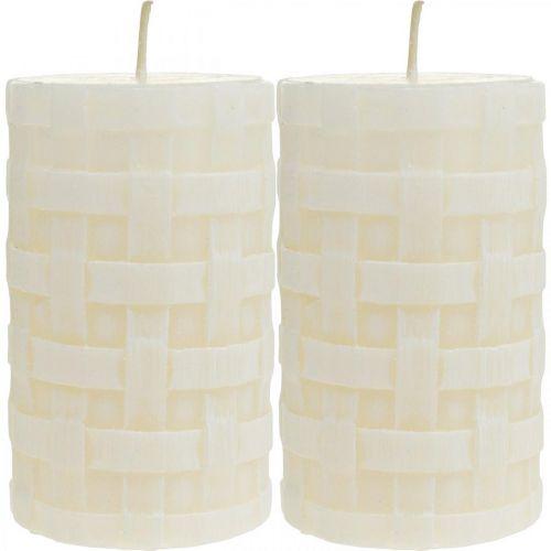 Bougies rustiques, bougies en cire blanche, modèle de panier de bougies pilier 110/65 2pcs