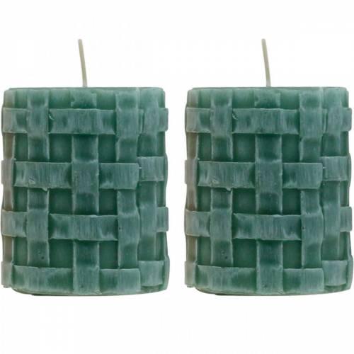Bougies piliers Rustic 80/65 bougie verte décoration bougie 2pcs