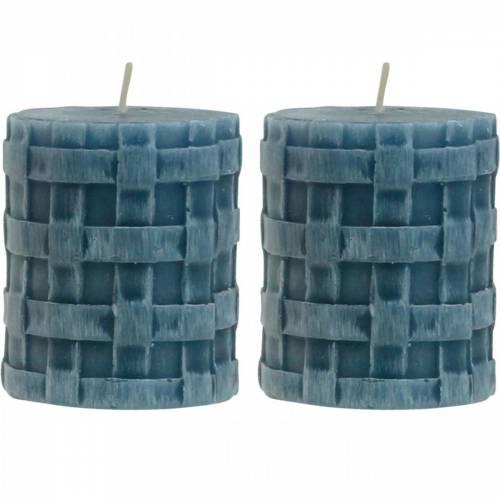 Bougies piliers rustiques bleues 80/65 bougies rustiques 2pcs