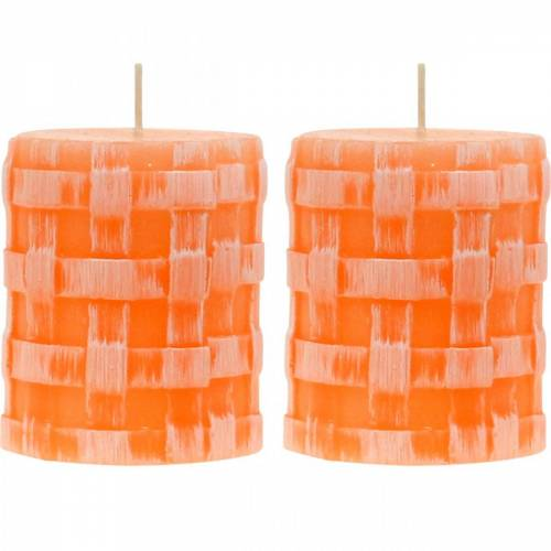 Bougies Pilier Rustic Orange 80/65 Bougie Bougie Rustique en Cire 2pcs