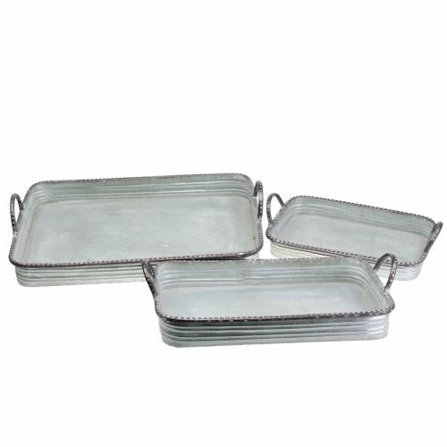 Plateau décoratif avec poignées métal argenté 30cm / 37cm / 45cm lot de 3