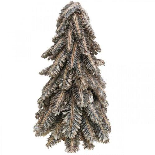 Sapin fait de cônes, sapin de Noël recouvert de neige, décorations d'hiver, Avent, blanc lavé H33cm Ø20cm
