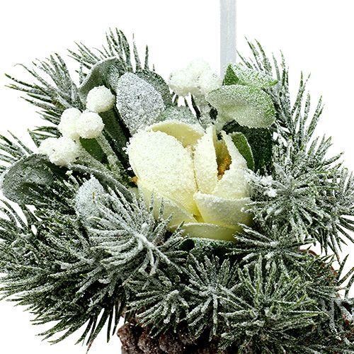 Pommes de pin avec décoration pour suspendre blanc 25cm - 30cm