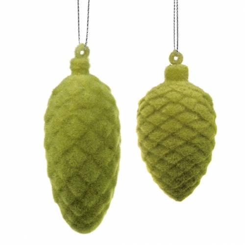 Cônes décoratifs floqué vert mousse 9.5cm / 8cm 12pcs